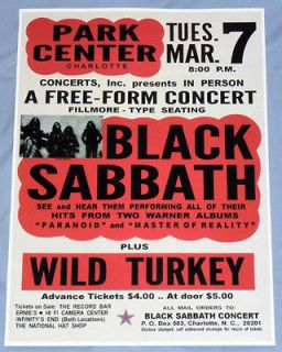 Black Sabbath Concert Poster   Charlotte, NC   Master of Reality