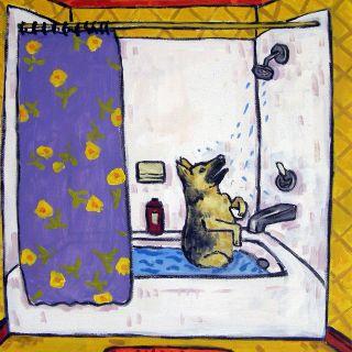 German Shepherd bath animal dog art tile coaster gift
