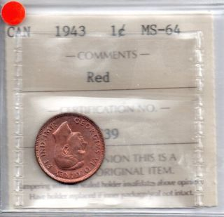 1943 Canada Red Penny, 1 cent, ICCS Graded MS 64