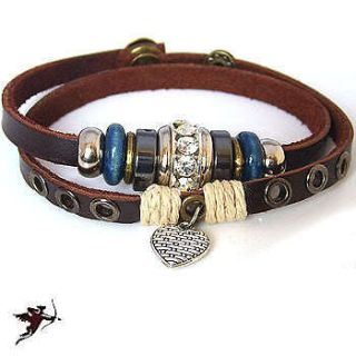 bracelet heart wristband hemp bling rhinestone handcraft artisan
