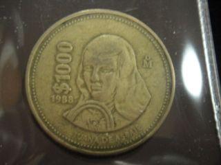 RARE1988 MEXICO 1000 PESOS COIN %%%%%x21