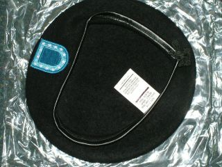 US ARMY BLACK BERET WITH BLUE FLASH WOOL HAT 7 1/4