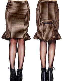 Spin Doctor Hell Bunny Arya Striped Steampunk Wiggle Skirt Gothic