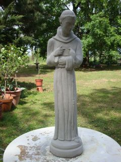 27 ST FRANCIS of ASSISI w/DOVE Gray Cement Concrete Garden Statue