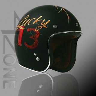 TORC 3/4 OPEN FACE RETRO VINTAGE MOTORCYCLE SCOOTER HELMET BLACK LCUKY