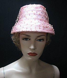 VINTAGE 1960s RARE PINK HAT, AUDREY HEPBURN CLASSIC STYLE #1500