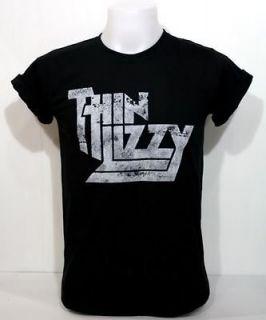 Black VTG Shirt Tee Phil Lynott 70 Irish Heavy Hard Metal Rock Band