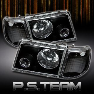 93 97 FORD RANGER BLACK PROJECTOR HEADLIGHTS +CORNER SIGNAL LIGHTS