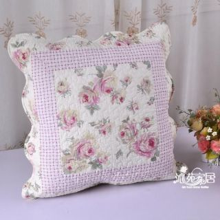 Shabby Country Chic Pink Rose Cotton Quilted Cushion Cover A1 Style