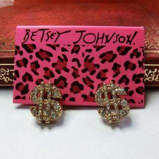 Betsey Johnson Retro crystal dollars earrings LK98