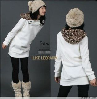 Womens Autumn Long Sleeves Hoodie Leopard White Sweatershirt Top