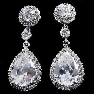 VTG Style Bridal Flower Drop Dangle Earring Rhinestone Crystal