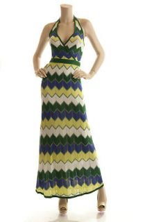 BCBG MAX AZRIA EVERGREEN COMBO KNIT SILK HALTER MAXI DRESS S