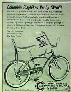 1969 Columbia Playbikes Sport 5 Bicycles~Bike Swing AD
