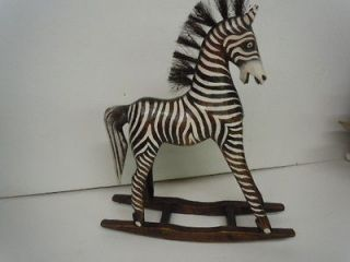 BABY ROCKING ZEBRA WOODEN SCULPTURE STATUE AFRICAN JUNGLE HAND MADE