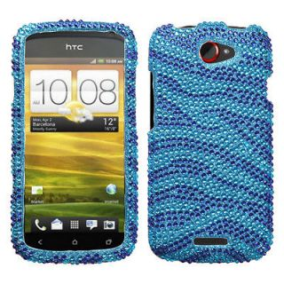 Mobile HTC One S Case Cover Bling Rhinestone Zebra Skin Baby/Dark