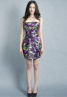 NWT BCBG Max Azria Grape Sateen Print Pleated Strapless Dress LCR6J752