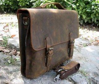 Vintage Rugged Leather Mens Briefcase Laptop Messenger Shoulder Bag