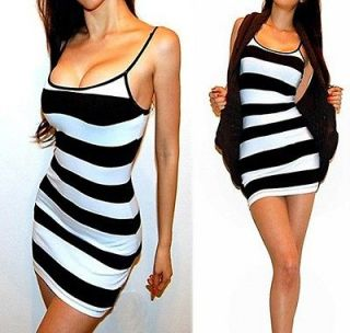 SEXY BLACK WHITE STRIPED FITTED TANK DRESS TUNIC TOP / MINI DRESS S