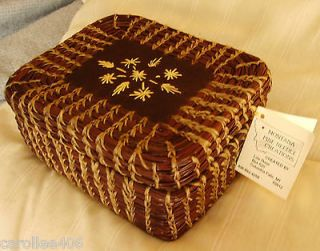 WOVEN BASKET~PINE NEEDLE & SEWN LEATHER MUSIC JEWELRY BOX~HAND CRAFTED