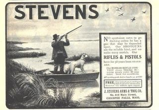 1902 ad b stevens rifles pistols duck hunting boat dog
