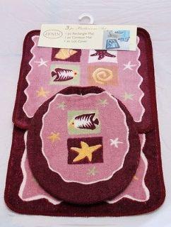 Pink Bathroom Mat Rug Set (Bathroom Rug, Contour & Lid Cover Set
