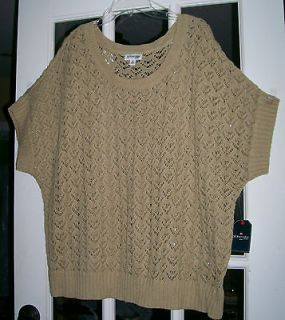 ST JOHNS BAY SIZE 2X WOMEN PLUS SCOOP NECK BATWING SWEATER TOP/TAUPE