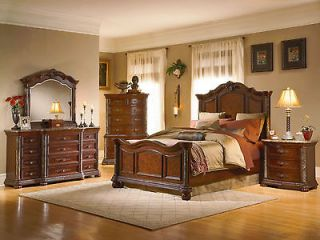 5pcs TRADITIONAL MARBLE BROWN QUEEN KING MANSION BEDROOM SET FURNITURE