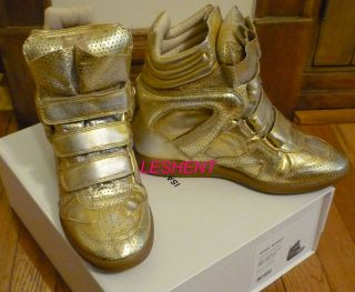 NEW IN BOX AUTH ISABEL MARANT SNEAKERS SHOES GOLD BIRD BAZIL BEKET T