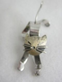 CHARMING VINTAGE BEAU STERLING 3 D NODDER KITTY CAT PIN