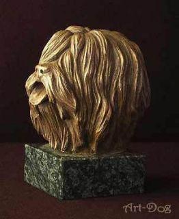 Polish Lowland Sheepdog on marble statue figurine Cold Cast Bronze