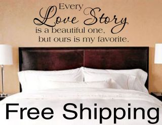 EVERY LOVE STORY IS BEAUTIFUL vinyl lettering wall decal sticker home