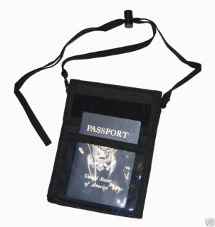 CONDOR #208 Passport ID Credit Card Carry Pouch w/Neck Lanyard BLACK
