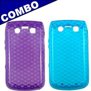 COMBO For the Blackberry Bold 9790 Purple + Blue Gel phone cover case