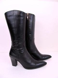 Russell & Bromley London Black Leather Western Boot Shoes Womans 7.5