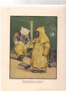 Original Print Teddy Bear In Rubber Suits From 1906 Book Roosevelt