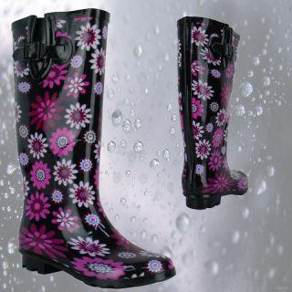 R2F Ladies Flat Big Flower Wellington Boots Stylish Comfort Womens