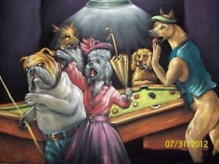 dogs playing pool big vintage black velvet oil painting, RARE, 24 by