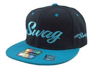NEW VINTAGE SWAG FLAT BILL SNAPBACK BASEBALL CAP HAT BLACK/AQUA