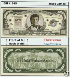 10 Jesse James Western Outlaw Historical Bills Lot