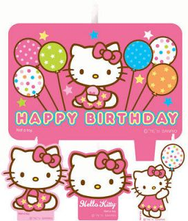 Hello Kitty Birthday Party Molded Birthday Candle Set 4 Ct