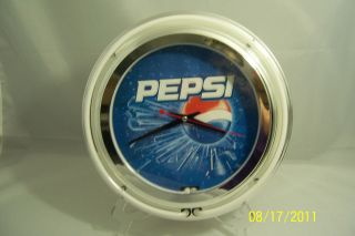 Pepsi Double Neon Ring Lighted Wall Clock 14 ~ USED