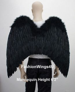XL wingspan Black Costume Feather Wings Goth Archangel Angel Demon