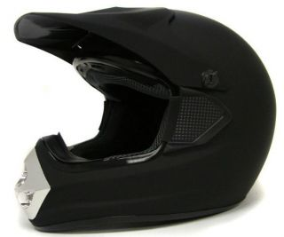 Adult Solid Matte Black MX Motocross Dirt Bike ATV Off Road Helmet~S M