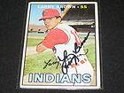 LARRY BROWN SIGNED AUTOGRAPHED 1967 TOPPS CARD INDIANS