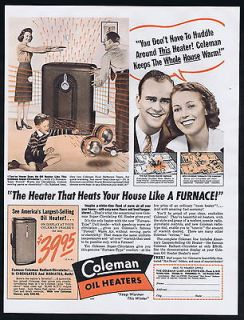 1941 Coleman Oil Home Heater Super Circulator Vintage Print Ad
