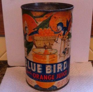 RARE BLUE BIRD Orange Juice can Dated 1946 Tin Can, Vintage, Antique