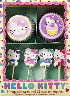 Hello Kitty Party Cupcake Wrappers Kit 24 Toppers Meri Meri Cat Theme