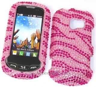LG Extravert Pink Zebra Rhinestones Glitter Bling Cell Phone Case