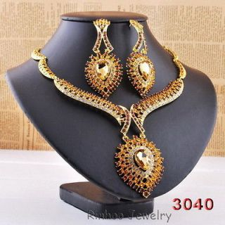 Evil Eye Crystal Rhinestone Wedding set Huge Bib Necklace Earrings